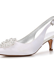 cheap -Women's Wedding Shoes High Heel Pointed Toe Wedding Party & Evening Satin Rhinestone Wine White Black