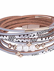 cheap -women multi-layer leather wrap bracelet handmade wristband braided rope cuff bangle with magnetic buckle jewelry (pearls-silver)