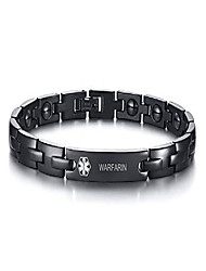 cheap -warfarin stainless steel medical id bracelets for men free engraving emergancy black link medical alert bracelets