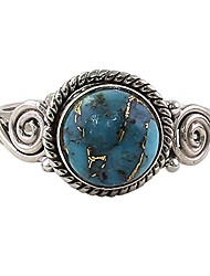 cheap -reconstituted turquoise .925 sterling silver spiral cocktail ring 'blue attunement'