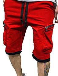 cheap -Men's Cargo Chino Outdoor Shorts Tactical Cargo Pants Solid Colored Knee Length Pocket White Black Red