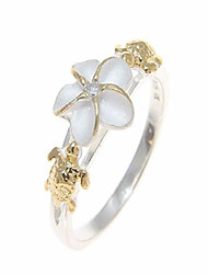 cheap -sterling silver 925 hawaiian plumeria flower cz turtle ring 2 tone yellow gold plated size 4.5