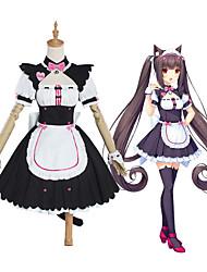 preiswerte -Inspiriert von NEKOPARA Chocolate Anime Cosplay Kostüme Japanisch Cosplay-Anzüge Kleid Socken Schleife Für Damen / Schwanz / Hut / Kopfbedeckung / Armband / Fliege