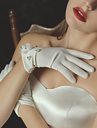 cheap -Satin Suit Length Glove Elegant / Simple Style With Faux Pearl / Petal