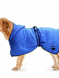cheap -dog bathrobe towel with adjustable strap hood, pet dog cat bath robe towel for drying coats, extra large, blue,xs