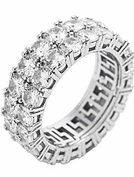 cheap -14k gold plated cubic zirconia ring 8mm 2rows round cut iced out lab diamond eternity bands ring for men women