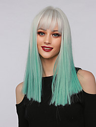 cheap -Cosplay Costume Wig Synthetic Wig Ombre Straight kinky Straight Side Part Neat Bang With Bangs Wig Medium Length Ombre Blue Synthetic Hair 16 inch Women's Cosplay Party African American Wig Green