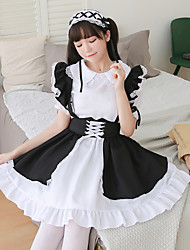 cheap -Lolita Princess Lolita Vacation Dress Dress Masquerade Women's Japanese Cosplay Costumes Black Lace Color Block Short Sleeve / Headpiece / Apron