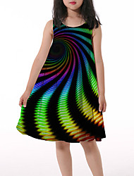 cheap -Kids Little Girls' Dress Graphic Print Rainbow Asymmetrical Sleeveless 3D Print Cute Dresses Loose