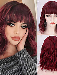 cheap -Synthetic Wig Curly Neat Bang With Bangs Wig Short Light Brown Natural Black #1B Blonde Ombre Brown Dark Brown#2 Synthetic Hair 14 inch Women's Heat Resistant Burgundy Brown hairjoy