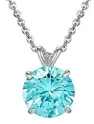cheap -sterling silver march birthstone necklace 18 inch 2 carat blue aquamarine necklace anniversary birthday mother's gift ssnk18-50