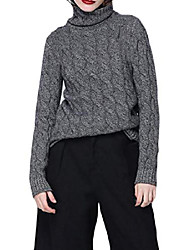 cheap -women's cashmere sweater, vintage twist pattern turtleneck long sleeves knitted pullover tops dark gray l