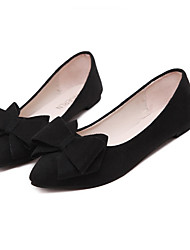 cheap -Women's Flats Flat Heel Pointed Toe Casual Daily Walking Shoes Faux Leather Bowknot Solid Colored Black Burgundy Gray
