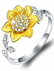 cheap -18k gold plating 925 sterling silver sunflower open ring 3d flower shape adjustable ring jewelry for women and girls (yellow gold)