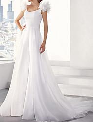 cheap -A-Line Wedding Dresses V Neck Sweep / Brush Train Chiffon Sleeveless Simple Beach with 2021