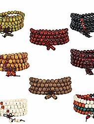 cheap -8pcs wood mala prayer beads bracelet elastic sandalwood link wrist necklace 108 8mm for men and women (8pc-1)