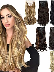 cheap -clip in hair extensions straight curly wavy 4 pieces set thick clip in on synthetic hair extensions hairpieces for women 18inch