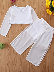 cheap -Kids Toddler Girls' Clothing Set Solid Colored Long Sleeve Casual White Basic Short Short