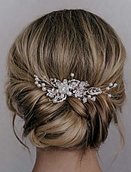 cheap -bridal hair comb clip pin rhinestone pearl wedding hair accessories for bride bridesmaid, silver