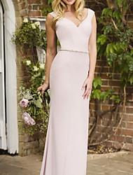 cheap -Sheath / Column V Neck Floor Length Stretch Satin Bridesmaid Dress with