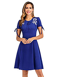 cheap -women's floral embroidery bow tie sleeve a line 1940s vintage dress m royal blue