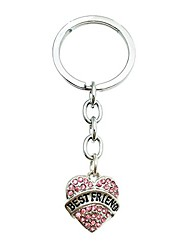 "cheap -pink crystal""best friends"" engraved rhinestone heart engraved charm keychain keyring"