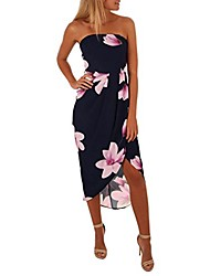 cheap -newest womens evening party outing dating open back elegant charming off the shoulder boho dress lady beach summer sundrss maxi dress(navy,uk-10/cn-s)