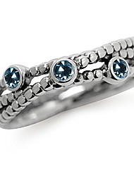 cheap -3 stone genuine london blue topaz 925 sterling silver stack stackable ribbon ring size 9