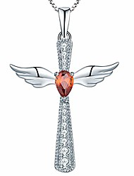 cheap -cross necklace 925 sterling silver angel wings crucifix pendant created garnet criss jewelry for women