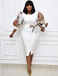 cheap -Plus Size Women's A-Line Dress Knee Length Dress 3/4 Length Sleeve Print Bow Fall & Winter Work Puff Sleeve Cotton Blend Relaxed Fit