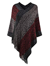 cheap -women knit plaid warm winter fringed poncho sweater cardigan coat cape 6#wine red