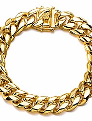 """cheap -miami cuban link chain bracelet ,18k gold plated/silver/black ,14mm width,316l stainless steel curb bangle for men women (wide:14mm-18k gold plated, 8"""")"""