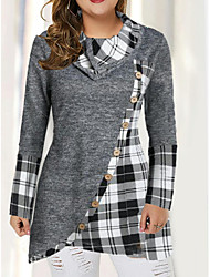 cheap -Women's Plus Size Tops T shirt Patchwork Plaid Large Size Round Neck Long Sleeve Big Size
