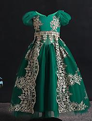 cheap -Kids Little Girls' Dress Floral Mesh Green Maxi Short Sleeve Vintage Dresses Regular Fit