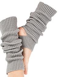 cheap -winter yoga sport cable knitted leg warmers crochet long boot socks for women grey