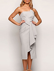 cheap -Sheath / Column Strapless Tea Length Jersey Bridesmaid Dress with Split Front / Ruching