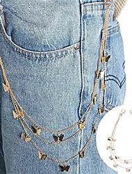 cheap -riymusry punk body chain goth street butterfly belt waist chain pants chain multi layer hiphop hook trousers keychain jewelry for male women (gold)