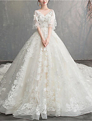 cheap -Princess Ball Gown Wedding Dresses V Wire Floor Length Lace Tulle Short Sleeve Formal Luxurious with Appliques 2020