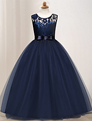 cheap -Kids Little Girls' Dress Solid Colored Wedding Party Layered Hollow Out Mesh Blue Purple Blushing Pink Maxi Sleeveless Cute Dresses Summer Regular Fit 4-13 Years / Lace