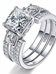 cheap -solid sterling silver round & princess cut cz eternity wedding ring sets for women size 5.5