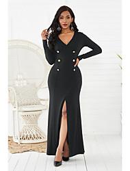cheap -Women's Sheath Dress Maxi long Dress Black Yellow Green Long Sleeve Solid Color Split Button Fall Spring V Neck Elegant Sexy 2021 S M L XL