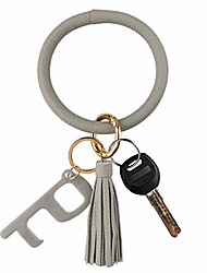 cheap -leather bracelet key ring bangle keyring, tassel ring circle key ring keychain wristlet with no touch key door opener– free your hands (gray)