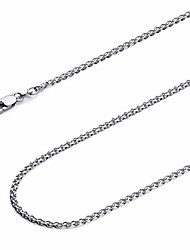 cheap -14k white gold solid 2mm flat open wheat chain necklace - 20""