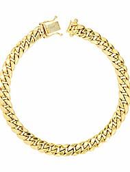 "cheap -men's 10k yellow gold 6mm hollow miami cuban link chain bracelet, 7.5""-9"""
