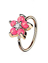 cheap -rose gold ip plated opal glitter set flower petals cz center 316l surgical steel wildklass hoop ring for nose & ear cartilage (pink)