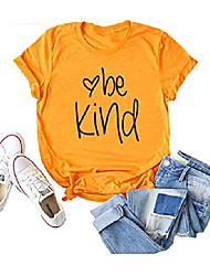 cheap -be kind t shirts women graphic tees teacher kindness shirts screen print letter tops 2xl yellow
