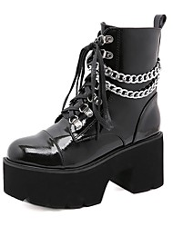 cheap -Women's Boots Chunky Heel Round Toe Booties Ankle Boots Punk & Gothic Daily PU Solid Colored Black / Booties / Ankle Boots