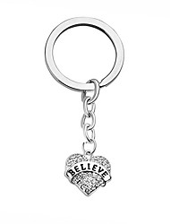 "cheap -""believe"" heart keychain engraved rhinestone crystal inspirational keyring"