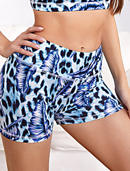 cheap -Women's Yoga Shorts Shorts Tummy Control Butt Lift Leopard Blue Brown Spandex Yoga Fitness Gym Workout Summer Sports Activewear