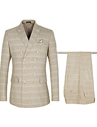 cheap -Khaki Checkered Standard Fit Polyster / Cotton Suit - Peak Double Breasted Six-buttons / Suits